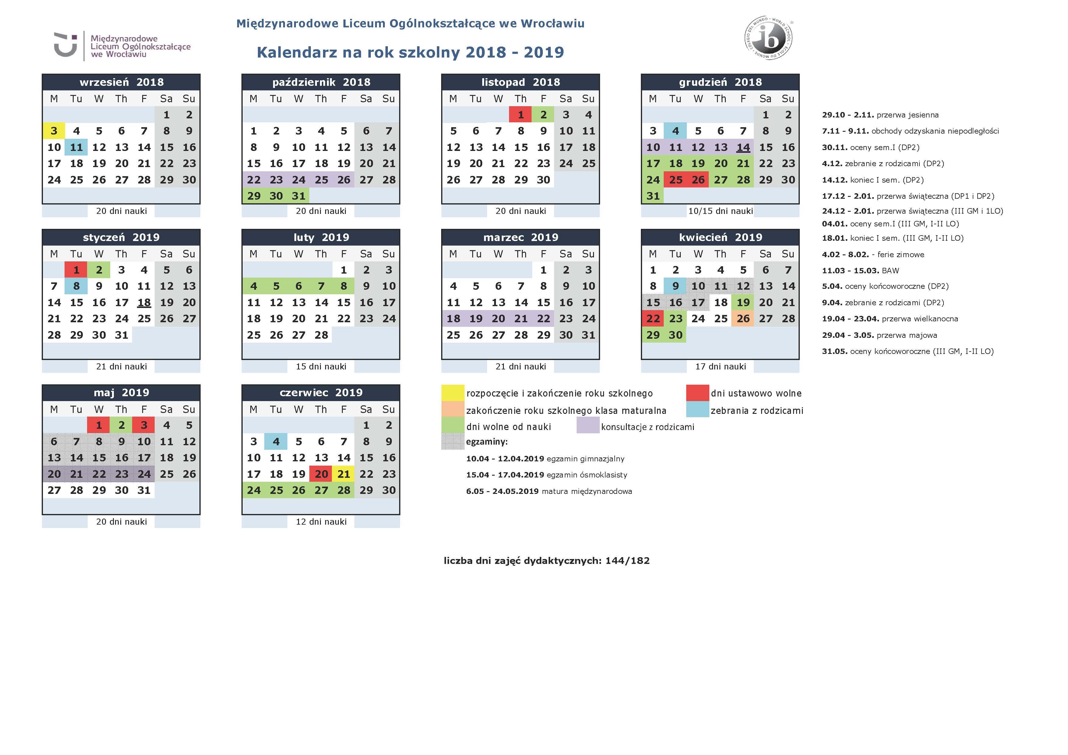 Kalendarz na rok szk 2018-19_MLO - dla uczniów i rodziców
