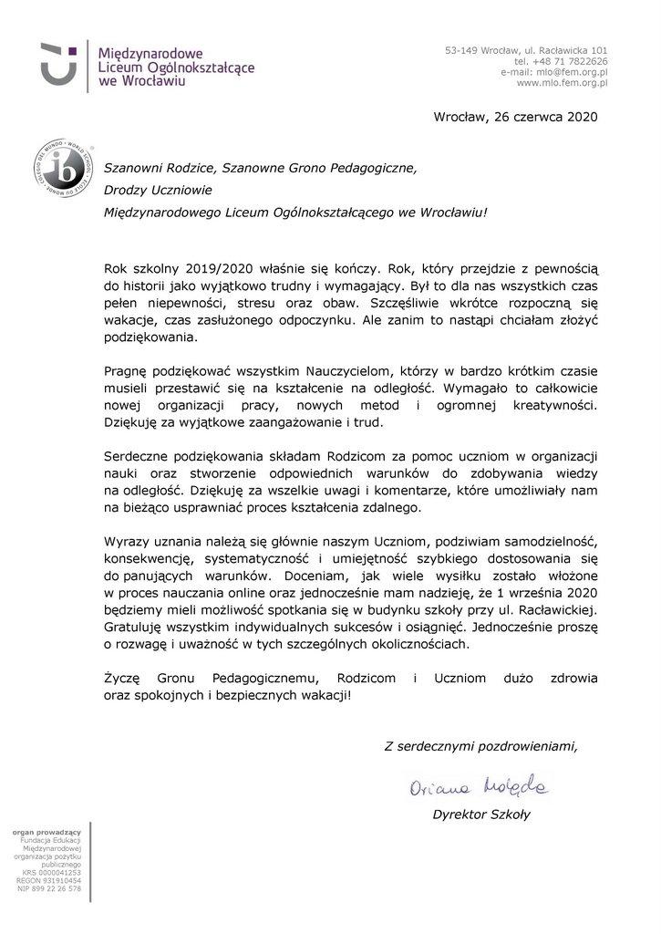 List na zakończnie roku 2019-2020