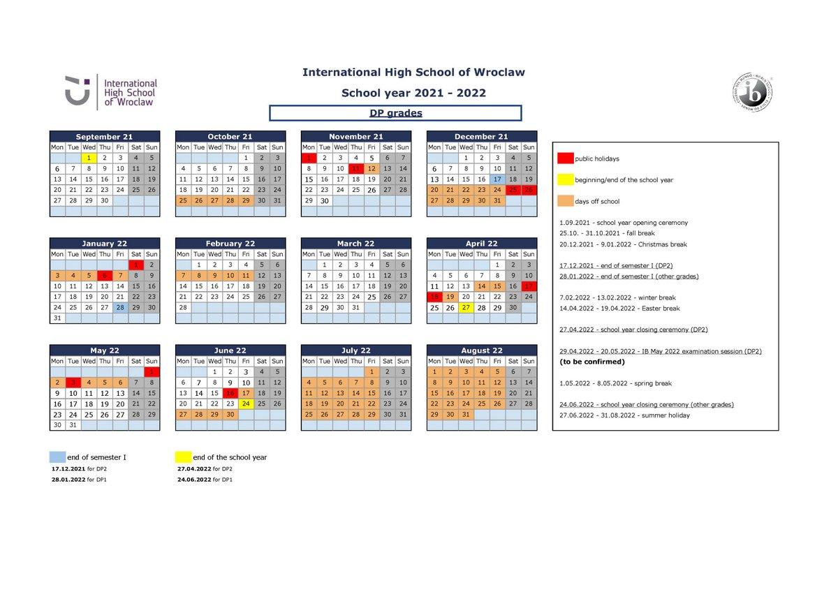 IHSW DP Calendar 2021-2022