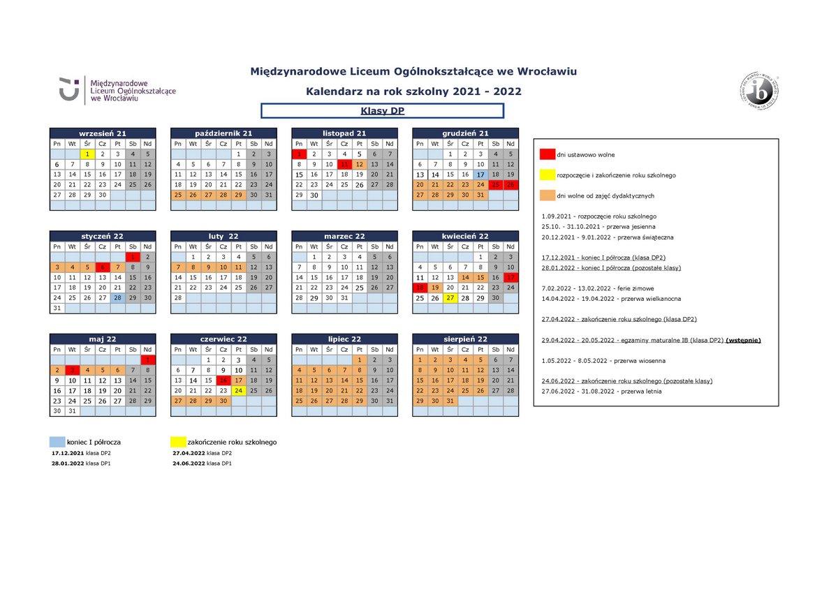 Kalendarium kl DP MLO 2021-2022
